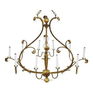 Art Nouveau-Style Gold Tole Chandelier