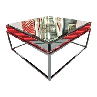 New Beveled Mirror Square Coffee Table