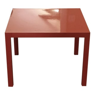 Lane Furniture Mid-Century Orange Lacquered Parsons Table