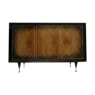 Harlequin & Brass Detail Mahogany Sideboard in the Manner of Tommi Parzinger