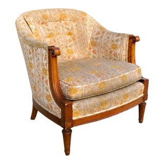 Vintage Tufted Gold Brocade Accent Chair