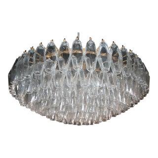 Round Italian Venini 1970s Polyhedron Glass Chandelier