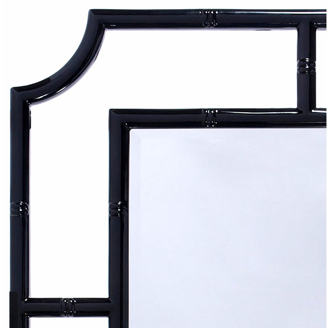 Worlds Away Black Lacquer Bamboo Wall Mirror - Image 2 of 2