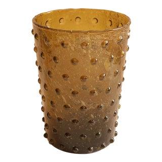 Empoli Style Olive Hobnail Vase