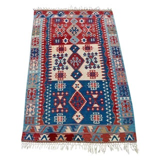"Vintage Blue, Red & Ivory Tribal Kilim - 3'6"" X 6'"