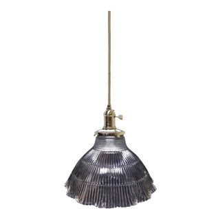 Original Clear Holophane Shade Pendant Light
