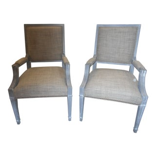 Vanguard Leighton Transitional Arm Chairs - A Pair