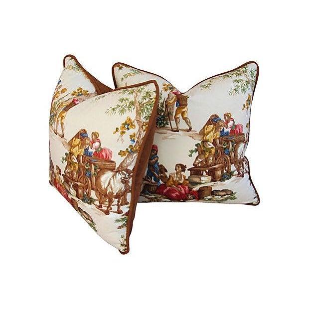 Image of Designer Kravet Guinevere Wine Toile Pillows -Pair