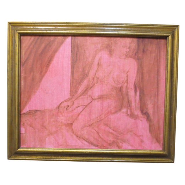 Image of 1970's Painting - Nude All in Red