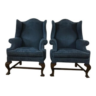 Vintage Blue Wingback Armchairs - A Pair