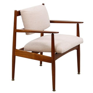 Mid Century Modern Exposed Frame Upholstered Chair