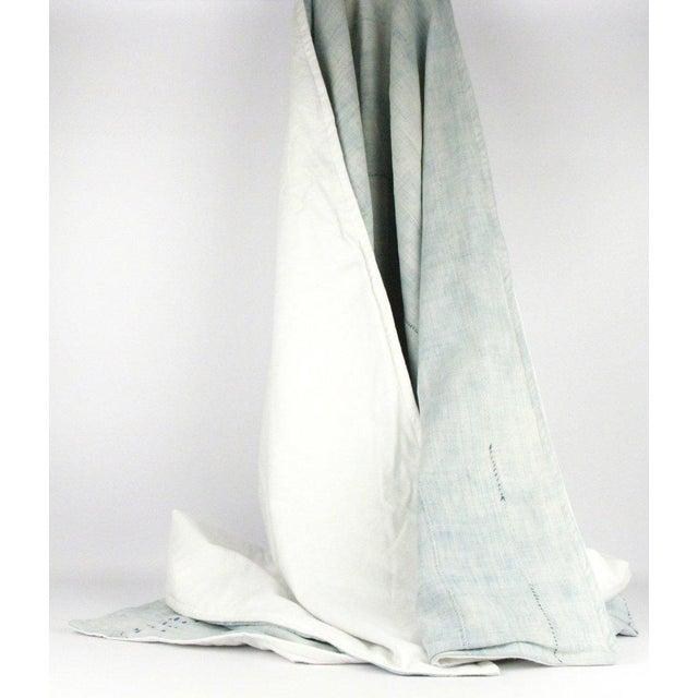 Image of Light Blue Mudcloth Throw Blanket