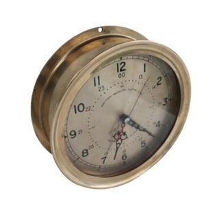 1940´s Nautical Round Solid Brass Wall Clock.