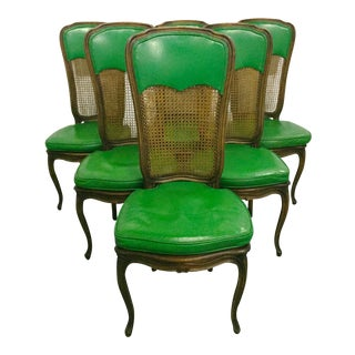 6 French Provincial Caned Dining Chairs-Green Leather Cushions