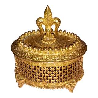 Vintage Florenza Fleur De Lis Gold Gilt Trinket Box