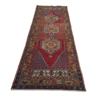 Antique Turkish Oushak Runner - 3′4″ × 7′5″