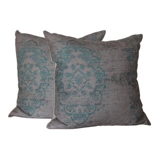 Turquoise Distressed Turkish Rug Print Pillow - A Pair