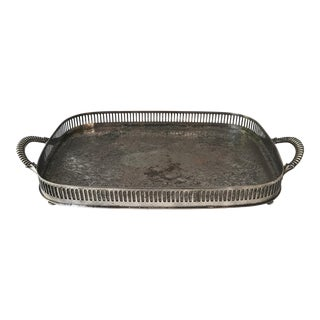Footed Silverplate Tray with Handles