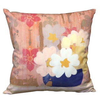 Square Soft Pink Floral Pillow