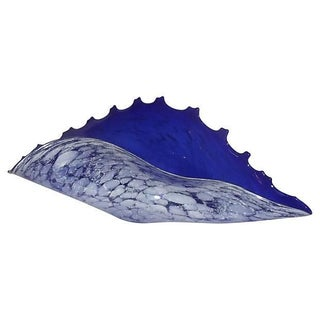 Blue Glass Murano Conch Shell Bowl