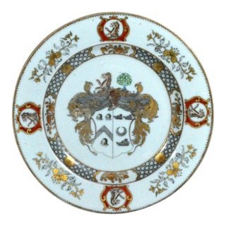 Pair of Chinese Export Armorial Plates for Scotland, Arms of More Impaling Hog
