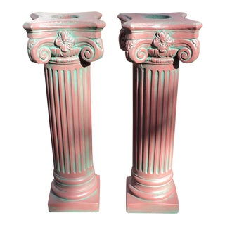 Antique Corinthian Concrete Columns - A Pair