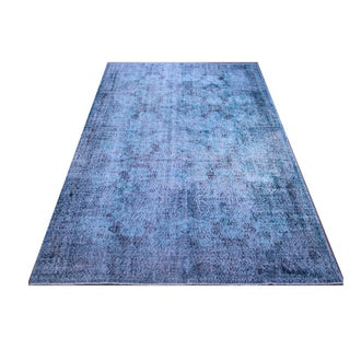 "Turkish Turquoise Overdyed Area Rug - 6'8"" x 9'8"""