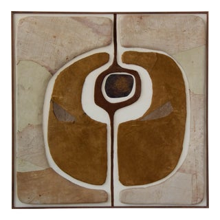 Mid-Century Modern Abstract Leather Wall Sculpture