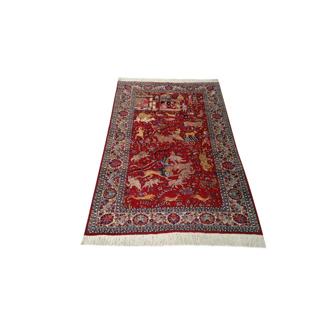 4′8″ × 7′5″ Vintage Scenery Hand Made Knotted Rug - Size Cat. 5x7 4x6 - Image 1 of 3