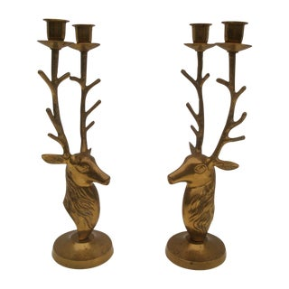 Vintage Brass Stag Deer Antler Candlesticks - a Pair