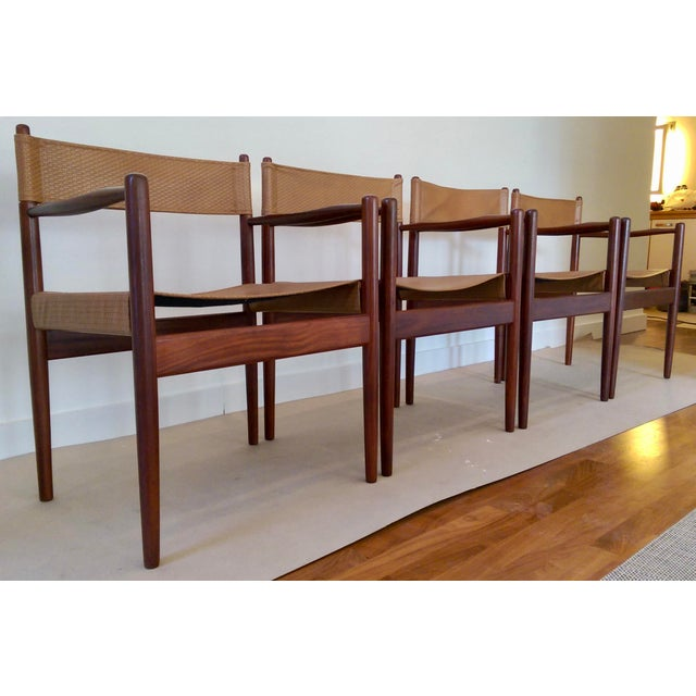 Arne Norell-Style Safari Sling Rosewood Chairs - Set of 4 - Image 6 of 8