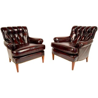 Traditional Regency Tufted Leather Chairs - A Pair