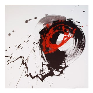 "Nakajima Hiroyuki Sho Japanese Modern Art Calligraphy ""Sun"" Acrylic on Canvas"