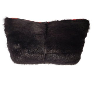 Genuine Black Mink Fur Pillow with Buffalo Check