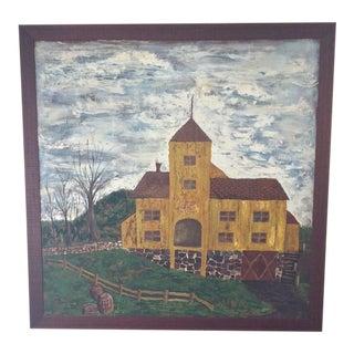 Primitive Folk Painting of Historic Cider Mill