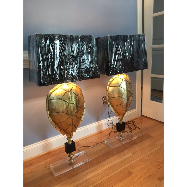 Magnificent Hand Crafted Faux Tortoise Lamps - 2 - Image 3 of 9