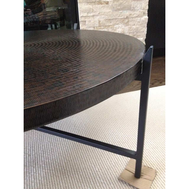 Modern Crate & Barrel Copper & Metal Coffee Table - Image 6 of 10