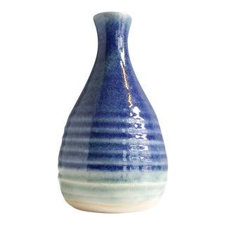 Vintage Ceramic Studio Pottery Striped Aqua Bud Vase