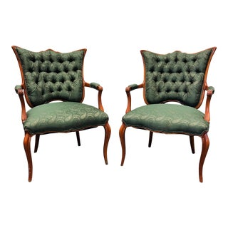 French Style Green & Gold Paisley Tufted Chairs - A Pair