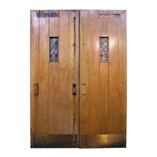 Antique Oak Double Doors With Leaded Glass - A Pair