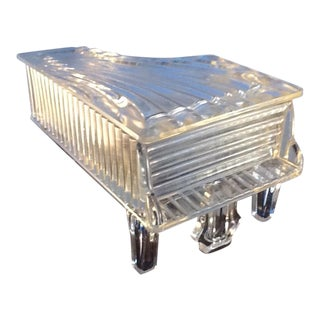 Vintage Glass Grand Piano Covered Dish