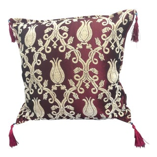 "Authentic Kilim Pattered Burgundy 17""x 17"" Pillow Cover"