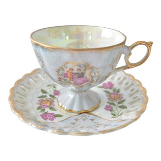 Antique Lusterware Cup & Saucer