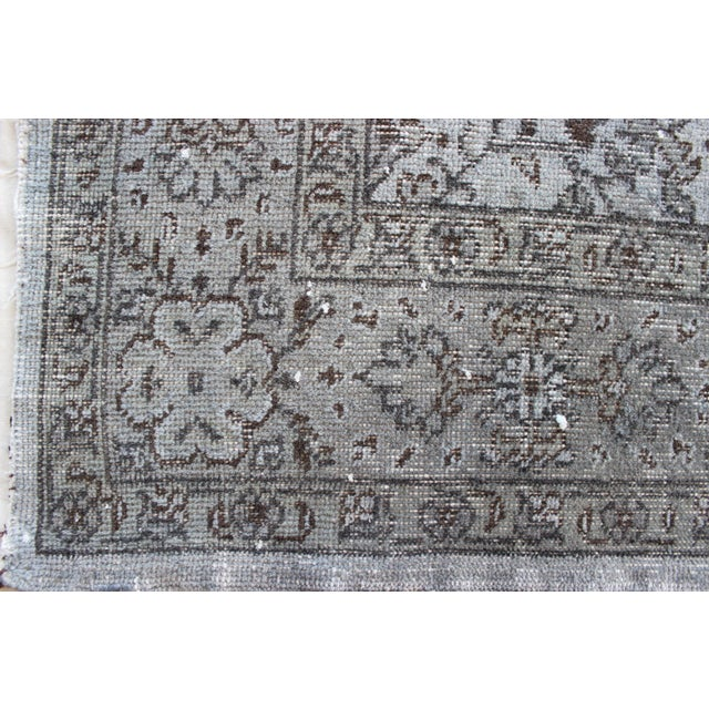 """Vintage Turkish Over-Dyed Gray Rug - 10' x 7'3"""" - Image 7 of 8"""