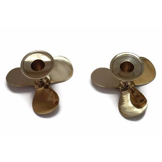 Nautical Brass Boat Propeller Candleholders - Pair