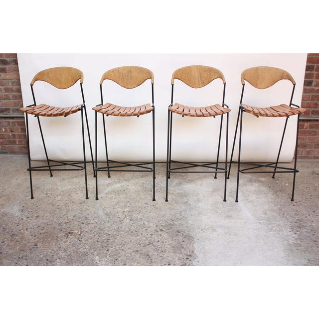 Set of Four Rush and Iron Stools by Arthur Umanoff for Raymor - Image 11 of 11