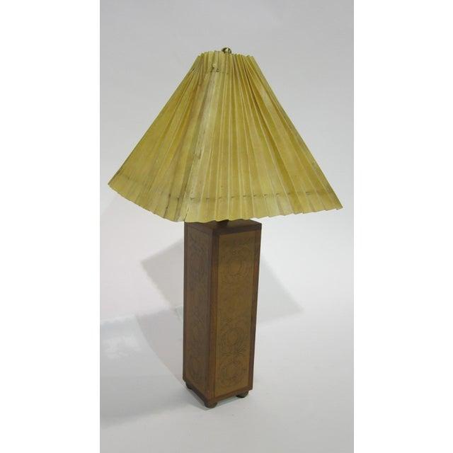 Vintage Sarreid LTD Embossed Leather Table Lamp - Image 2 of 2