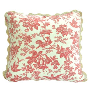 New Pillows, Coral Pink Bird Floral Vintage Toile
