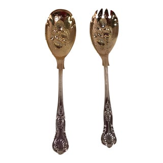 Gold Wash Silver Plate Salad Servers - A Pair