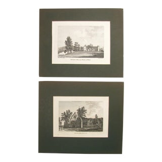 English Antique Architectural Copper Engravings - A Pair